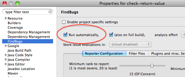"Enabling ""Run automatically"" in the FindBugs plugin"