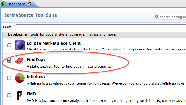 Installing the FindBugs plugin in the SpringSource Tool Suite