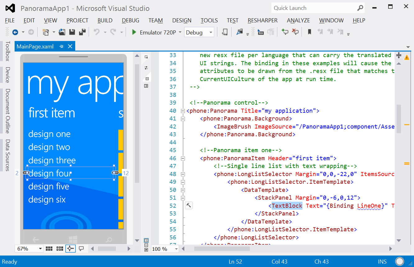 XAML editor in Visual Studio