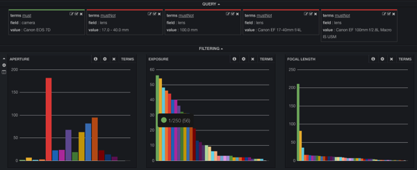 Kibana dashboard filtered