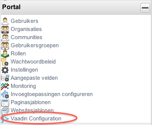 Opening the Vaadin configuration screen