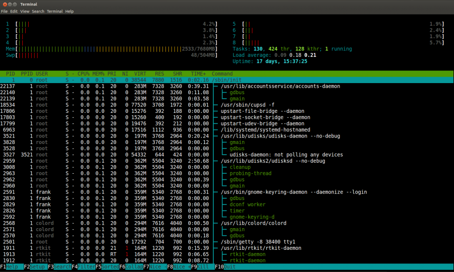 Htop screenshot