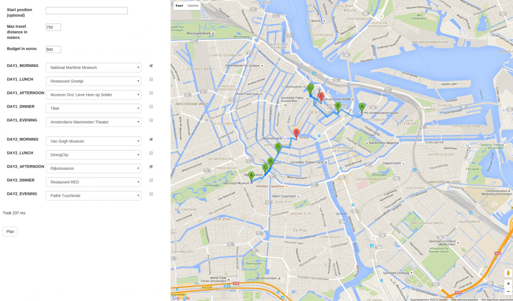 Personalised city trip itinerary using integer linear programming