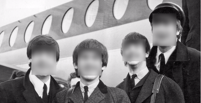 B&W Beatles with their faces blurred