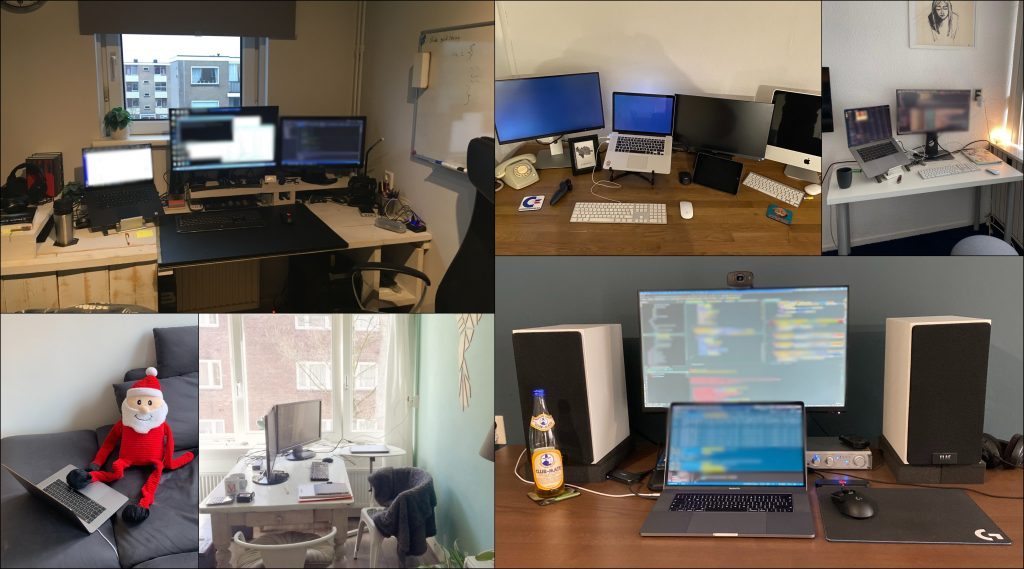 Collage of 6 photographs showing home offices